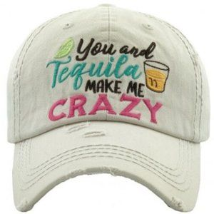 You & Tequila Make Me Crazy White Distressed Hat